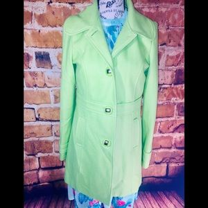 Tulle Lime Green Pea Coat Longer Leagth